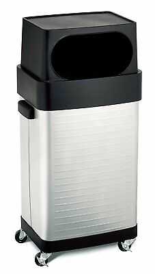 Stainless Steel Rolling Trash Bin Garbage Can Waste Kitchen Large Wheel Mobile