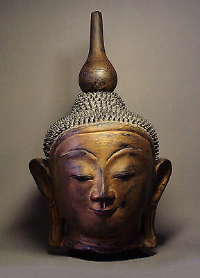 BURMESE SHAN STATES DRY LACQUER HEAD OF BUDDHA, AVA STYLE. MYANMAR 18-19th C.
