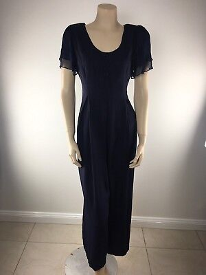 Evenings Vintage 1980s Navy Blue Rayon Sheer shoulder jumpsuit 10 EUC