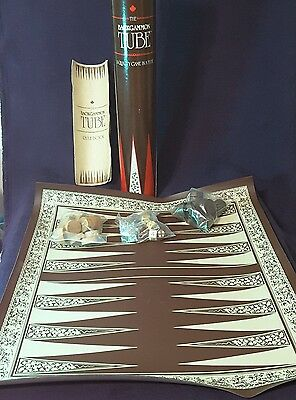 Vintage Backgammon 1988 Game in a tube. Sealed pieces, complete