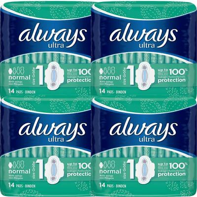Always Ultra Normal Sanitary Towels Pads With Wings Size 1 Absorbent, Pack of 56