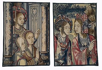 Two Renaissance Style Tapestries Story of David and Bethsabee