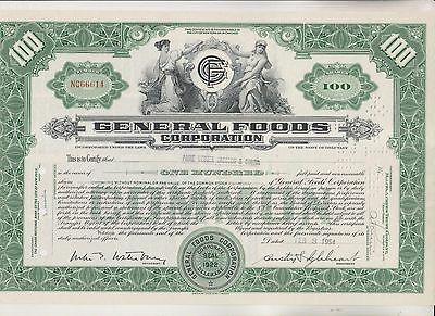 3 Vintage Stock Certificates - General Foods - Peel Elder - Western Union