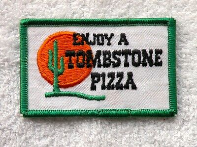 """( 1 ) ONE VINTAGE TOMBSTONE PIZZA ~ UNIFORM PATCH ~ 3 1/4"""" x 2"""" ~ FREE SHIPPING"""