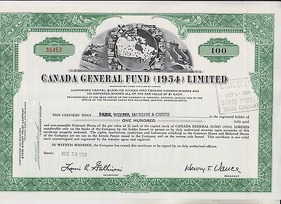 1954 Canada General Fund (1954) Limited Stock Certificate - Canada