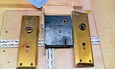 VINTAGE NORWALK CO.ENTRY MORTISE LOCK with Brass Door Plates Works Antique