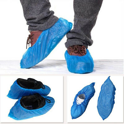 100 Pairs Disposable Plastic Shoe Covers Carpet Cleaning