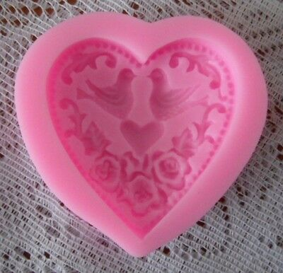 Large Floral Love Bird Heart Shape Silicone Mold Cakes Soap Candles Decoration