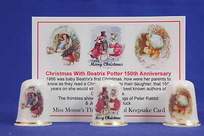 Christmas With Beatrix Potter 150th Anniversary Box Set of 3 Thimbles+Card B/106