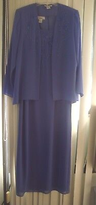 Mother of the Bride Dress & Jacket Purple w/ Beaded Embroidery by Patra Size 14