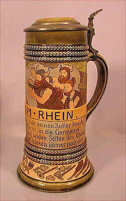 Rarer alter Bierkrug Alte Germanen beer stein um 1900