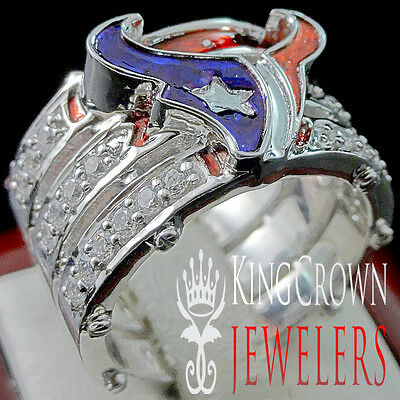 Mens Real White Gold Sterling Silver Big Bold Lab Diamond Texas Pinky Ring Band
