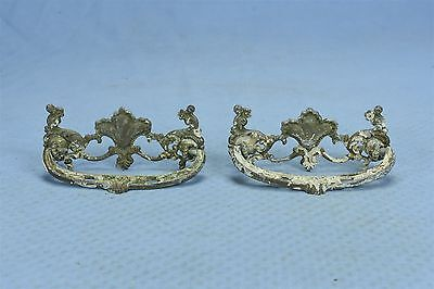 Antique SET of 2 VICTORIAN PIERCED CAST BRASS DRAWER HANDLE PULL HARDWARE #03589