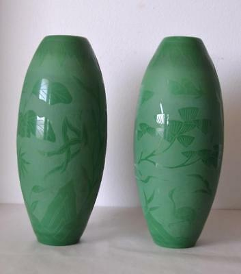 Vintage Chinese 1920s Pair of Etched Peking Glass Vases