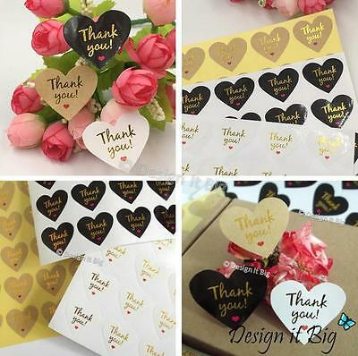 Thank You Heart Shaped Stickers - Labels Wedding Favours Bag Gift Seals XVI