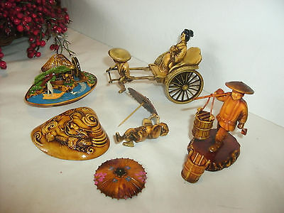 Vintage Lot Asian Celluloid Figures, Diorama, Buckets, Geisha In Cart, Worker
