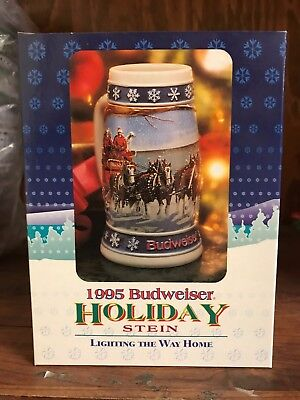 1995 Budweiser Holiday Stein in Box with Certificate of Authenticity