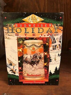 1996 Budweiser Holiday Stein in Box with Certificate of Authenticity
