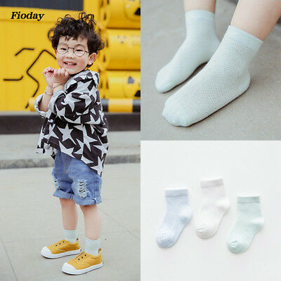 3 Pairs Baby Girls Breathable Mesh Socks Lovely Children Cotton Short Socks