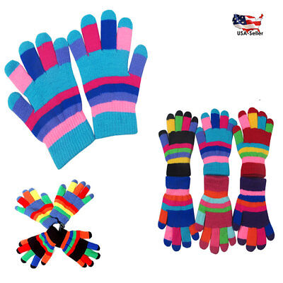 6~60 Kid's Boy Girl Striped Knit Magic Warm Winter Gloves Knitted Lot ages 5-13