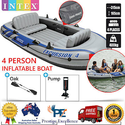 Intex inflatable boat 4 person water sports river fishing for 4 person fishing boat