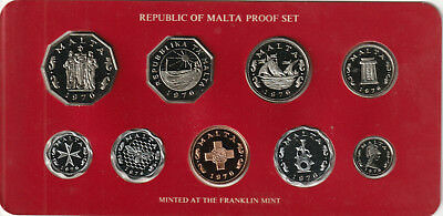 Republic of Malta 1976 Decimal Proof Set. Issued by the Central Bank of Malta.