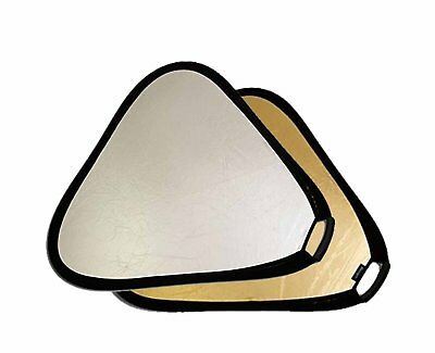 Photo Studio 24 in 2-in-1 Triangular Collapsible Disc Reflector, Gold Silver