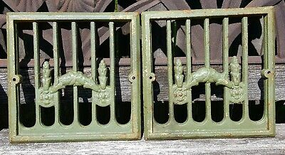 19thC Architectural Salvage Antique Iron Speak Easy Vent Grate * Urn Iron Fence