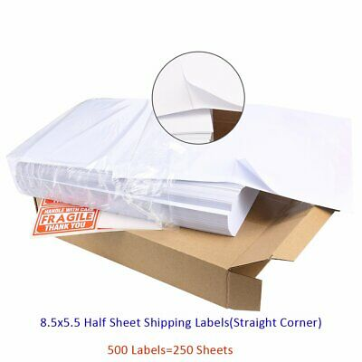 500 Half Sheet Shipping Labels 8.5x5.5 Self Adhesive For Laser Inkjet Ebay USPS