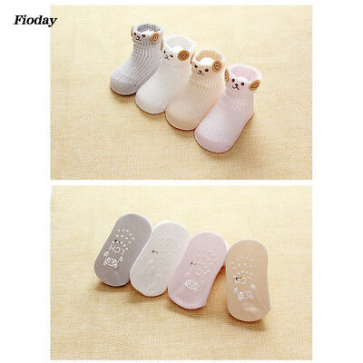 4 Pairs Embroidery Baby Short Socks Lovely Sheep Comfort Cotton Socks No-Slip