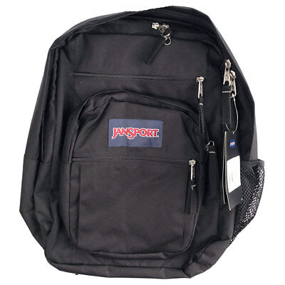 "Jansport ""Big Student"" Backpack (Black) Standard School Book Bag Authentic"