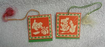 Scotty Scottie Dog  Dennison Red And Green  Bridge Tally Set of  Two