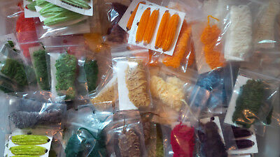 Chenille, Fine, 5 Meter bags, some cards, Various Colors