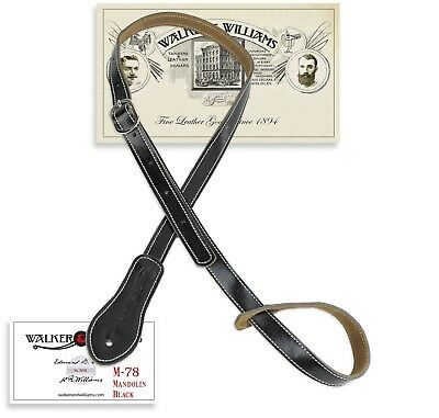 Walker & Williams M-78 Soft Black Leather Mandolin Mandola Bouzouki or Uke Strap