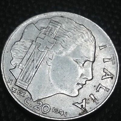 Italy 1941 20 CENTESIMI   Stainless Steel, 21.8 mm.