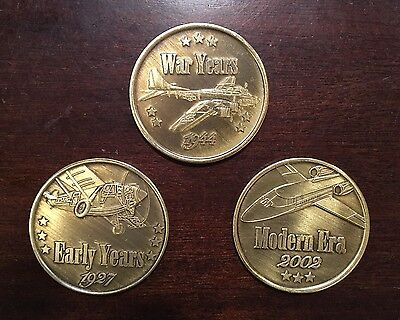 Phillips 66 Aviation Commemorative Coins Full Set of 3 w/Promo Flyer
