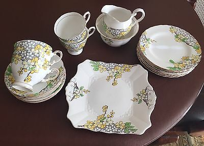 Vintage Tuscan China 15 Piece Floral Tea Set