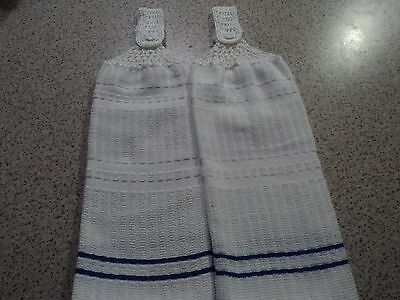 2  Hand Towels, Blue & White, Double sided, Crochet Tops (185)