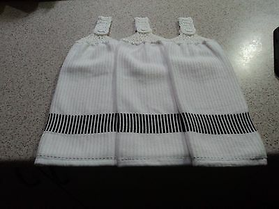 3  BLACK& WHITE Towels, Double sided, Crochet Tops (187)