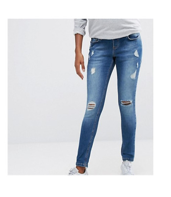 Missguided Maternity Ripped Skinny Jean Mid Blue (M49/1)