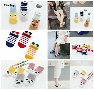 Cute Rainbow Animal Ankle Cotton Socks 3 Pairs Kawaii Cartoon Anime Baby Socks