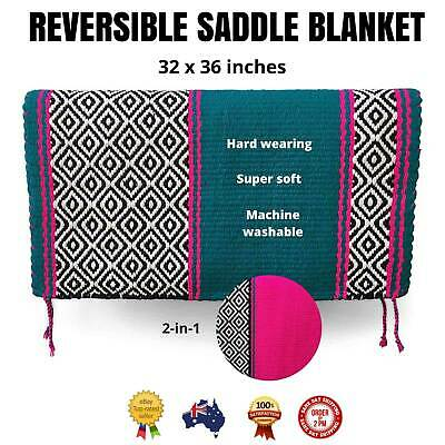 """Teal/Pink WESTERN/STOCK SADDLE PAD/SHOW BLANKET *Reversible Colours* 32"""" x 36"""