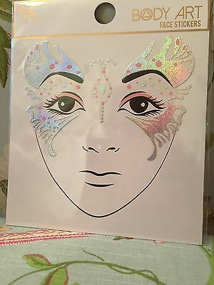 Festival Holographic Face Stickers Gem Body Art Holiday Ibiza Marbs *UK seller*