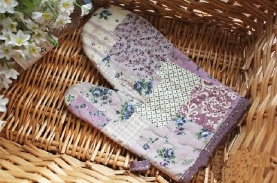 Hot Sale @ Country Purple Patch Cotton Quilted Oven Mitt Pot Glove ONE P