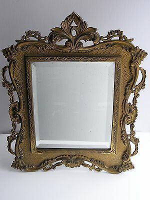 "Vintage Early 1900's Gilt Brass Bronze Vanity Table Mirror 14"" X 11"""