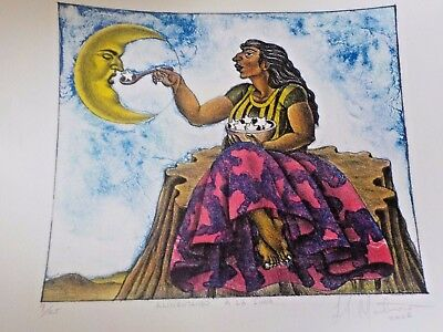 Mexican Artist Francisco Lopez Monterrosa Pencil Signed Numbered La Luna Litho
