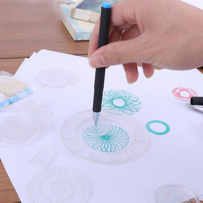 Spirograph Deluxe Set Design Tin Set Draw Spiral Designs Interlocking Toys XP