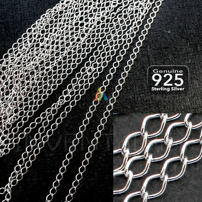 925 STERLING SILVER 2-3mm CONTINUOUS CURB /DIAMOND CHAIN For Jewellery Making