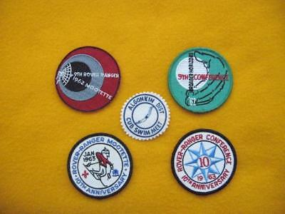Collection Of Five Vintage Rover - Ranger Scouting Badges.