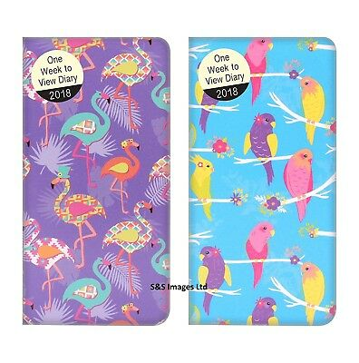 2018 Slim Size Pocket Diary Week To View WTV Flamingo / parrots Fashion design